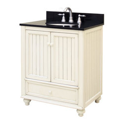 "Sunny Wood - Sunny Wood BB3021D Burnished White Bristol Beach 30"" Wood Vanity - 30"" Wood Vanity Cabinet from the Bristol Beach Collection The Bristol Beach collection of vanities and mirrors is the perfect complement for those looking for a fresh, seaside feeling in their bathroom. With its lightly distressed finish and the beaded wainscot style doors and side panels, this vanity collection sets itself apart. Features include full face frame construction, turned feet with adjustable levelers, and dual mount drawer slides. The Bristol Beach collection also features ample storage and a variety of accent mirrors. Product Details:  Dimensions: 30""W x 21""D x 34""H Constructed of Maple hardwoods and veneers 2 Door, 1 Drawer Design Fully Inset Bottom Drawers Mildly Distressed Burnished White Finish Turned Feet with Adjustable Foot Tabs Side Panels Include Bead Board Insert Ample interior storage Brass decorative hardware Crated and shipped assembled Bristol Beach vanities: 30"" (this model), 36"" (BB3621D), 48"" (BB4821D) Additional image is that of the 36"" version of this vanity, but still provides reference for design characteristics and finish Finish Distressing Technique Applied to Give Character and Create a ""Living Finish"" Appearance"