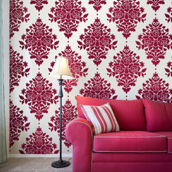 Damask Rose Stencil - The damask is such a classic pattern, it's great how this stencil puts a simple twist on it by adding roses--yet it's still gorgeous and classic. Use this stencil for an all over look, or place it here and there for something a bit more contemporary.