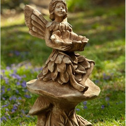 Campania International - Campania International Merriweather Fairy Cast Stone Garden Statue - S-366-AL - Shop for Statues and Sculptures from Hayneedle.com! Perched comfortably on a pair of toadstools the friendly fairy on the Campania International Merriweather Fairy Cast Stone Garden Statue holds a stone flower that you can fill with water to provide a unique bird bath. Built from durable cast stone this garden statue will last for years and comes in your choice of patina finish.About Campania InternationalEstablished in 1984 Campania International's reputation has been built on quality original products and service. Originally selling terra cotta planters Campania soon began to research and develop the design and manufacture of cast stone garden planters and ornaments. Campania is also an importer and wholesaler of garden products including polyethylene terra cotta glazed pottery cast iron and fiberglass planters as well as classic garden structures fountains and cast resin statuary.Campania Cast Stone: The ProcessThe creation of Campania's cast stone pieces begins and ends by hand. From the creation of an original design making of a mold pouring the cast stone application of the patina to the final packing of an order the process is both technical and artistic. As many as 30 pairs of hands are involved in the creation of each Campania piece in a labor intensive 15 step process.The process begins either with the creation of an original copyrighted design by Campania's artisans or an antique original. Antique originals will often require some restoration work which is also done in-house by expert craftsmen. Campania's mold making department will then begin a multi-step process to create a production mold which will properly replicate the detail and texture of the original piece. Depending on its size and complexity a mold can take as long as three months to complete. Campania creates in excess of 700 molds per year.After a mold is completed it is moved to the production area where a team individually hand pours the liquid cast stone mixture into the mold and employs special techniques to remove air bubbles. Campania carefully monitors the PSI of every piece. PSI (pounds per square inch) measures the strength of every piece to ensure durability. The PSI of Campania pieces is currently engineered at approximately 7500 for optimum strength. Each piece is air-dried and then de-molded by hand. After an internal quality check pieces are sent to a finishing department where seams are ground and any air holes caused by the pouring process are filled and smoothed. Pieces are then placed on a pallet for stocking in the warehouse.All Campania pieces are produced and stocked in natural cast stone. When a customer's order is placed pieces are pulled and unless a piece is requested in natural cast stone it is finished in a unique patinas. All patinas are applied by hand in a multi-step process; some patinas require three separate color applications. A finisher's skill in applying the patina and wiping away any excess to highlight detail requires not only technical skill but also true artistic sensibility. Every Campania piece becomes a unique and original work of garden art as a result.After the patina is dry the piece is then quality inspected. All pieces of a customer's order are batched and checked for completeness. A two-person packing team will then pack the order by hand into gaylord boxes on pallets. The packing material used is excelsior a natural wood product that has no chemical additives and may be recycled as display material repacking customer orders mulch or even bedding for animals. This exhaustive process ensures that Campania will remain a popular and beloved choice when it comes to garden decor.Please note this product does not ship to Pennsylvania.