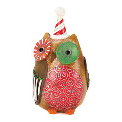 KOOLEKOO - Sweet Holiday Owl Decor - Want a sweet treat for your holiday decor? This festive owl sparkles with charm and will surely brighten your home. His bright coloring, fun patterns, and adorable design make this a delightful accent for your table or mantel.