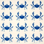 Happy Crab Eco Napkins, Sapphire Blue/Cream, Set of 4