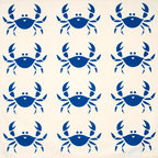 Wabisabi Green - Happy Crab Eco Napkins, Sapphire Blue/Cream, Set of 4 - Why are these crabs doing a happy dance? Maybe because these cute, hand-printed napkins are also ecofriendly, helping to protect the environment that we share with other critters. Loaded with beach cottage charm, these napkins celebrate the coastlines with flair and just cause.