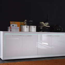 Modern Sideboard Salina Large - This modern sideboard is made in Italy by LC Mobili and available in 5 high gloss finishes: Petroleum, White, Red, Fango or Sand. Futures modern design and stylish RGB lights to compliment the sleek look of the model.