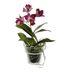 Jane Seymour Botanicals - Dendrobium Petite in Glass Vase, Purple - All the exotic elegance of a potted orchid — with none of the work! This impeccable purple dendrobium makes a lovely statement in your decor and will never lose a single petal.