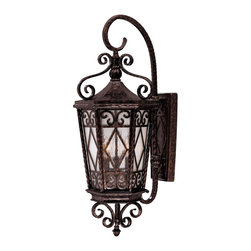 "Savoy House - Felicity 6-Bulb Wall Mount Lantern - This lantern makes a elegant statement, right in front of your home. The intricate details of the hammered metal frame are stunning, and the soft, cream-textured glass lets off the coziest glow. Say ""welcome home"" in style with this brilliant lantern."