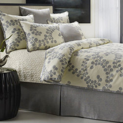 Mystic Home - Splendore Steel Bough Blue King Complete Bed Set - - The Splendore Steel Complete integrates a Duvet cover, a bed skirt, an 18-in pancake, a coverlet, and a sheet set with Shams as follows: King / King 3 (2 A, 1 B) Euro Shams + 2 King Shams All Shams are sold flat   - Frame Material: Cotton, Linen and Rayon   - Cleaning/Care: Dry Clean Only   - Pillow Not Included   - Made in USA Mystic Home - ZPLESK-3