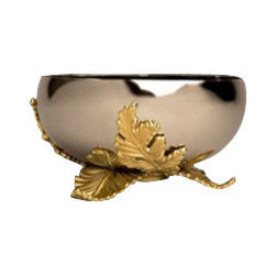 "L'Objet - L'Objet Lamina Vase - L'Objet is best known for using ancient design techniques to create timeless, yet decidedly modern serveware, dishes, home decor and gifts. Stainless Steel24K Gold Plated Brass. Measurements: 6"" Luxuriously Gift BoxedThe Lamina Collection combines metalwork reminiscent of French filigree, reinterpreted for modern sensibilities. Each piece incorporates a handcrafted Acanthus leaf motif, set against stainless steel."
