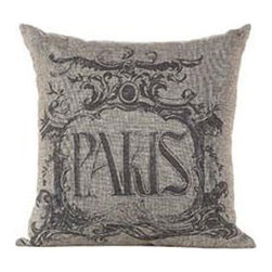 "Flourished Throw Pillow - Paris - Old-fashioned whorls and figures adorn this pillow bearing a vintage typography print of ""Paris."" Its deep gray tone is a gentle but subtly modern touch that suits it to comfortable contemporary homes."