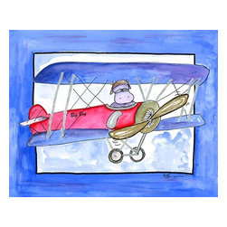 Oh How Cute Kids by Serena Bowman - When Hippos Fly, Ready To Hang Canvas Kid's Wall Decor, 20 X 24 - Every kid is unique and special in their own way so why shouldn't their wall decor be so as well! With our extensive selection of canvas wall art for kids, from princesses to spaceships and cowboys to travel girls, we'll help you find that perfect piece for your special one.  Or fill the entire room with our imaginative art, every canvas is part of a coordinating series, an easy way to provide a complete and unified look for any room.