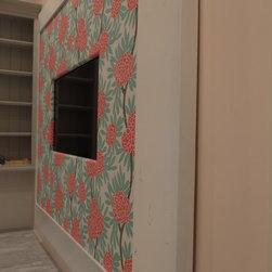"In-Mirror TVs - Side profile of custom bulletin board. 8.5"" inverted Aspen profile in Dove White with customer provided fabric wrapped cork bulletin board surrounding a 40"" TV. Exterior dimensions 72"" x 84"" Interior dimensions 55"" x 67"""