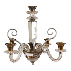 Used Murano Glass & Mirror Chandelier C. 1940 - A beautiful 4-arm chandelier, circa 1940, made of Murano glass with brass and mirror accents. It was discovered in the markets of Paris. The chandelier has been rewired for U.S. use and is in working condition.