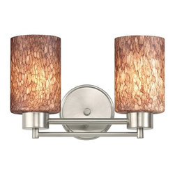 Design Classics Lighting - Satin Nickel Modern Bathroom Light with Brown Art Glass - 702-09 GL1016C - Contemporary / modern satin nickel 2-light bathroom light. Takes (2) 100-watt incandescent A19 bulb(s). Bulb(s) sold separately. UL listed. Damp location rated.