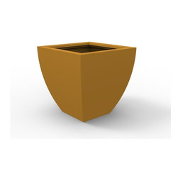 Decorpro - Medium Monaco Planter, Spanish Gold - The Monaco Planter evolved from a variation on the standard square pots. Although designed as a large outdoor planter, these elegant planters also look great indoors. With clean curved lines these modern planters add an impressive statement as commercial  planters or in private residences.