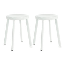 Safavieh - Safavieh Indus White Stools (Set of 2) - This set of Indus stools is inspired by timeless design and is a welcomed addition to any decor. Made from durable steel,the scratch and mar resistant white powder coat finish will make this a great dining stool or an accent piece in any room.
