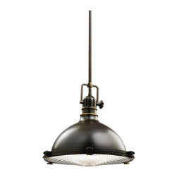"KICHLER - KICHLER 2666OZ Traditional Pendant Light - Classic industrial form in a pendant with a Fresnel lens is what you will find in this Olde Bronzel fixture. 1 light, 100-W (M) max. Diameter 8"", body height 10 1/2"" and overall 48"". Extra lead wire 100"". For additional chain order No 2996OZ. For additional stem order No. 2999 (12"")OZ."