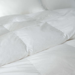 DOWNLITE - Silky Cotton Sateen Pima Down Comforter, White, Oversized Queen, Solid - No Patt - Absolutely stunning to the touch - your bed will be graced with these silky soft clouds of comfort. Featuring Pima cotton paired with a specially woven cotton sateen weave that is extra silky to the touch.