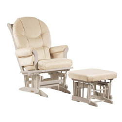 Dutailier - Sleigh glider-multiposition, recline and nursing ottoman combo - beige - Dutailier's exclusive gliding system with top quality sealed ball bearings. Multiposition mechanism allows to stop the glider at the desired position. Great reclining mechanism allows backrest to be fully adjustable. Hardwood frame in white finish. Matching nursing ottoman included. Glider: 27 in. x 31 x 42.5 in.. Ottoman: 20 in. x 18 in. x 14.75 in.Ideal for nursing or simply relaxing, this Sleigh glider and nursing ottoman combo offers an exceptionally smooth and extra long glide motion with thick cushions and padded arms that will add class and elegance to your decor. The multiposition mechanism locks the glider in 6 different positions and makes it easier to sit in or step out of the glider. In addition, it features a reclining mechanism to maximize your comfort. Use the retractable footrest of the nursing ottoman for an optimal nursing position. There are no sharp edges, the finish is toxic free and this product meets all safety standards.