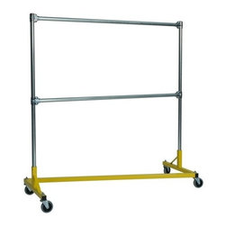 Z Racks - Heavy Duty 5 ft. Double Rail Z-Rack Garment R - Base Color: Yellow. 500lb capacity. 14 gauge, 60 in. Long steel base (Environmentally safe powder coated finish ). 16 gauge, 60 in. upright bars and double hang rails. 1 5/16 outside diameter upright bars and hang rail. Grey non-marking soft rubber with TP center 4 in. casters. Made in the USA. 63 in. L x 23 in. W x 67 in. HThis Z-Rack is designed to hold up to 500 lbs of apparel, while maximizing all five feet of length. And because the two rows are placed on top of each other, the rack will not tip under a heavy load.