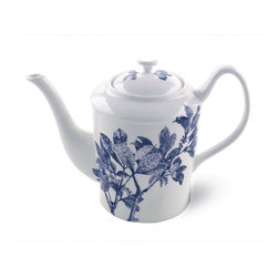 Frontgate - Blue Arbor Tea Pot - From fine artisanal tableware purveyor Caskata. Crafted of 100% porcelain. Handmade and hand-painted Cobalt Blue, each item is unique. Clay is sculpted, polished, fired, painted and glazed. Dishwasher safe. A gathering of feathery leaves graces the body of this chinoiserie-inspired tableware collection by Caskata. , each piece in the Blue Arbor collection is handmade and hand-painted. , serve your guests in style with tableware carefully crafted with time-honored tradition that is built to last.  .  .  .  .  . Please note that color and size may vary slightly due to handcrafted nature . Made in USA.