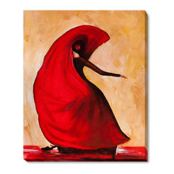 """overstockArt.com - Kopania - Flamenco - 20"""" X 24"""" Oil Painting On Canvas Flamenco is a beautiful painting of a woman dancing flamenco. Enjoy its beauty and color reproduced as a fine canvas hand painting. Justyna Kopania is from Warszawa, Poland. In her words when she paints she tries to show the 'world', which could be seen by looking at reality that surrounds us, from another perspective, unusual, remote, sometimes through the eyes of the child, sometimes music, composer, or someone who looks lichen on the sea, the moon , the sky and the stars ..., the river ... looks out the window and looks out into the street. Walking down the street looking at people's faces. In rain, snow or fog. Perhaps the world that surrounds us really is quite different than we perceive it every day."""