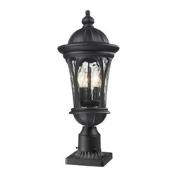 """Z-Lite - Doma Outdoor Post Light Sand Black in Water glass Shade - Traditional and timeless, this medium outdoor pier mount combines black cast aluminum hardware with clear water glass for a classic look. ; Collection: Doma; Frame: Sand Black, Aluminum; Shade: Water glass, Glass; Bulb: 60 watts, Candelabra base; No. of bulbs: 3; Bulb not included.; UL Application: Wet; Dimensions: 9""""W x 22.25""""H; Weight: 5 lbs."""