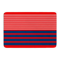 """KESS InHouse - Trebam """"Nauticki Red"""" Navy Lines Memory Foam Bath Mat (17"""" x 24"""") - These super absorbent bath mats will add comfort and style to your bathroom. These memory foam mats will feel like you are in a spa every time you step out of the shower. Available in two sizes, 17"""" x 24"""" and 24"""" x 36"""", with a .5"""" thickness and non skid backing, these will fit every style of bathroom. Add comfort like never before in front of your vanity, sink, bathtub, shower or even laundry room. Machine wash cold, gentle cycle, tumble dry low or lay flat to dry. Printed on single side."""