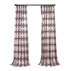 Exclusive Fabrics & Furnishings, LLC - Sorong Printed Cotton Curtain - Tailored from pure cotton, these cotton panels will give your space a tribal touch. A neutral color palette that blends, rather than overpowers the bold pattern. Each panel is lined to gently filter the light.