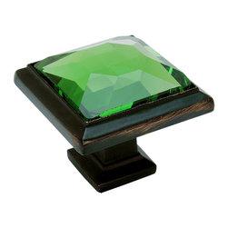 Cosmas - Cosmas 5883ORB-EM Oil Rubbed Bronze & Emerald Glass Square Cabinet Knob - Manufacturer: Cosmas