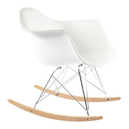 #N/A - The Mid Century Rocking Chair - White - The Mid Century Rocking Chair - White. The Mid-Century Rocking Chair is made from high stregth polypropylene with stainless steel base, Ash wood sleighs ensures use for years to come. This is a true classic chair that will compliment any room.