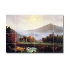 Picture-Tiles, LLC - Morning Mist Rising Plymouth New Hampshire Tile Mural By Thomas Cole - * MURAL SIZE: 17x25.5 inch tile mural using (24) 4.25x4.25 ceramic tiles-satin finish.