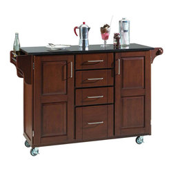 Home Styles - Home Styles Furniture Granite Kitchen Cart in Cherry - Home Styles - Kitchen Carts - 91001074 - The freedom to conduct food preparation anywhere you wish sums up the entire appeal of the Home Styles Kitchen Cart. Whatever the task entails this cart is more than up to it with a long granite counter top four utensil / storage drawers and two interior cabinets with adjustable shelving. Four wheel casters allow for freedom of movement and feature a locking function for safety. Side mounted spice and towel racks add further practicality while a cherry wood finish provides an inherent warmth.