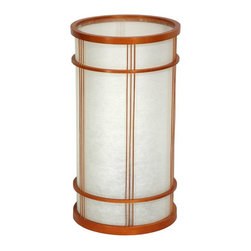 """Oriental Furniture - 14"""" Shibuya Japanese Shoji Lantern - A beautifully simple shoji lantern, this is a classic Japanese style lamp with outstanding contemporary design elements. Hand made with a pressed pulp rice paper cylinder lamp shade and honey stained wood collars to reinforce the shape. The subtle, horizontal ring lattices at the top and bottom, and the attractive triple line vertical lattices around the sides, make this one of the most distinctive shoji lantern designs. An outstanding piece of craftsmanship and design, sitting on your bureau, fireplace mantle, shelf unit or foyer cabinet, you'll enjoy it every time you see it, day or night. The great benefit of Japanese and Chinese style paper lanterns is the beauty of the diffused light they radiate. As one of these lanterns lights up your evening, you might marvel at how inexpensive and affordable it was, and you might wonder why you didn't order a matching pair."""