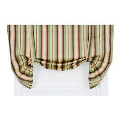 Ellis Curtain - Mateo Basil 50 x 30-Inch Lined Tie-Up Valance - - Ellis Curtain Mateo Medium Scale Stripe Print Tie-Up Valance - Stripe patterns give any room a graphic punch. The Mateo Stripe is a medium scale multi colored vertically oriented pattern that coordinates wonderfully with solid colors and many contrasting patterns. The bold clean, crisp, simple design is sure to transform any room within your home decor. Made with 100-percent cotton duck fabric creates a smooth draping effect, soft texture and easy maintenance. The fabric has a unique woven design to create amazing visual appeal and interest. The Tie-Up Valance is a one-piece valance that includes two strap ties and a decorative 3-Inch rod pocket for easy hanging. Width is measured overall 50-Inch, length is measured overall 30-Inch from header to bottom of panel   - A drapery rod, which is not included, is required to complete installation   - This item is dry clean only Ellis Curtain - 730462043610