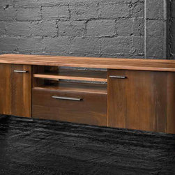 Drake Media Cabinet - A beautiful collection of sustainable furniture that is hand-crafted from exotic demolition hardwoods such as salvaged wood from downed telephone poles and from 100-year-old flooring as well as white oak and black walnut. Handcrafted in the USA with natural wax finish.
