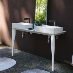 Azzurra - Azzurra | Azzurra Marilyn 01 Console - Made in Italy by Azzurra.A part of the Marilyn Collection. The Azzurra Marilyn 01 Console provides a clean design with unwavering durability. This double sink console conserves space in the master bathroom with two compact vessel sinks supported above sleek console legs. The eye is naturally drawn upward by integrating an elongated vertical mirror above the center countertop for the ultimate visual effect. Select from a variety of colors for the Marilyn 01 Console to complete your modern bathroom upgrade. Product Features: