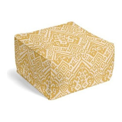 Yellow Woven Tribal Motif Custom Pouf - The Square Pouf is the hottest thing in decor since the sectional sofa. This bean bag meets Moroccan style ottoman does triple duty as a comfy extra seat, fashion-forward footstool, or part-time occasional table. We love it in this golden yellow heavy woven tribal pattern perfect for modern and eclectic spaces alike.
