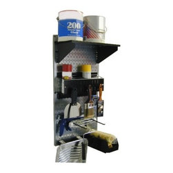 Wall Control Pegboard Paint Supplies Organizer Kit - The Wall Control Pegboard Paint Supplies Organizer Kit offers a dedicated space for all your painting supplies or accessories. Whether as long-term storage or as part of a frequently-used workstation, you'll find this storage kit a welcome addition to your toolshed or garage. The pegboard is made from 20-gauge steel and attaches easily to any wall with the included mounting hardware (no frame necessary); available in your choice of black or galvanized scratch-resistant finish. A shelf assembly, a spray can holder, a rolling pan hanger (with bin), 2 roller hooks, and 4 paint brush hooks are provided, letting you take your painting area from messy to managed. Tools are not included.About Wall Control For over a decade, Wall Control have provided home handymen and do-it-yourselfers with simple, easy-to-install wall storage available in a variety of colors and styles to suit any room in your home. Domestically based in Tucker, Georgia, Wall Control ensures quality American craftsmanship that's guaranteed to last a lifetime and looks great while doing so. Its patented designs are here to make your life easier, made from sturdy materials that let you customize any room in your home the way you see fit.