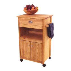 Catskill Craftsmen - Catskill Craftsmen Birch Hardwood Cuisine Butcher Block Kitchen Cart in Natural - Catskill Craftsmen - Kitchen Carts - 1569 - The Catskill Craftsmen Birch Hardwood Cuisine Cart adds convenience and beauty to your kitchen. The heavy duty locking casters provide great mobility and make this an easy addition to your kitchen. So make a great meal with the Birch Hardwood Cuisine Cart.