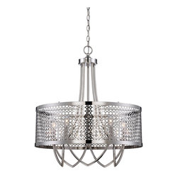 Raymond Waites - Raymond Waites 7-1281-5-109 Fairview Transitional Pendant Light - Fairview strikes the perfect balance with gleaning pierced metal and rich Polished Nickel  finish. This Raymond Waites Design has timeless elegance blended with a clean, modern vibe. The collection includes a pendant, chandelier, entry and two sconces.