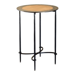 Caporali - Riro Side Table by Caporali - Tuscany, Italy - Hand forged in the Caporali workshop (Santa Mama, Tuscany, Italy), this uniquely designed side table that integrates wrought iron and cherry wood demonstrates the creative design and workmanship of these Tuscan artisans. Since 1885, the Caporali family has been forging iron in Tuscany using the same mortise and tenon methods passed down through four generations.