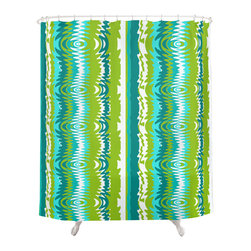 Crash Pad Designs - Renee Pedro  Bradley Shower Curtain - The fun doesn't have to stop at the bathroom door. Our funky shower curtain will make your bathroom smile.