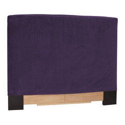 Howard Elliott - Bella Eggplant King Slipcovered Headboard - The Slip covered headboard is constructed with a sturdy wood frame that is padded for maximum comfort, making it solid yet cozy. This piece features a luxurious eggplant velvet cover