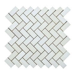 All Marble Tiles - Thassos White Marble Polished 3/4 x 2 Herringbone Mosaic - White has always been a color of elegance and you can choose it as a theme for your interior when you purchase the Thassos White Marble Collection. This tiles spark beauty wherever they are installed; in the bathroom, kitchen, living room or even out door. Using either a classic or modern style approach, it's about time you transformed how your house looked with Thassos marble tiles.