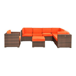 Amazonia - Marseille 8 Pc Sectional Set with Orange Cushions - Set includes Arm Chair, Ottoman, 3 Corner Chairs, and 3 Middle Chairs. Aluminum and Synthetic Wicker frame. Free feron gard vinyl preservative for longest strap durability. It works great against the effects of air pollution salt air, and mildew growth. For best protection, perform this maintenance every season or as often as desired. Dark Brown Wicker. Orange Cushion. Cushions are included. Water Repellent Polyester Cushions. Corner: 32 in. W x 32 in. D x 27 in. H. Middle Chair: 28 in. W x 32 in. D x 27 in. H. Ottoman: 28 in. W x 28 in. D x 13 in. H. Arm Chair: 31.5 in. W x 31.5 in. D x 27 in. HGreat quality, stylish design patio sets, made of aluminum and synthetic wicker. Polyester cushion with water repellant treatment. Enjoy your patio with elegance all year round with the wonderful Atlantic outdoor collection.
