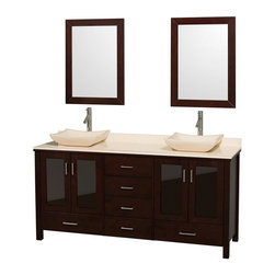 Wyndham Collection - Eco-Friendly Contemporary Bathroom Vanity - Includes natural stone counter, backsplash, two countertop vessel sinks and matching mirrors. Faucets not included. Four doors and six drawers. Engineered to prevent warping and last a lifetime. Highly water-resistant low V.O.C. finish. 12-stage wood preparation, sanding, painting and finishing process. Floor standing vanity. Deep doweled drawers. Fully extending side-mount drawer slides. Soft-close doors. Concealed door hinges. Single hole faucet mount. Plenty of storage space. Metal hardware with brushed chrome finish. Ivory marble sinks. Ivory marble top. Made from zero emissions solid oak hardwood. Espresso finish. Vanity: 72 in. W x 22.75 in. D x 35 in. H. Mirror: 24 in. L x 33 in. H. Handling Instructions. Assembly Instructions - Countertop. Assembly Instructions - Mirror. Assembly Instructions - SinkContemporary but practical design. The modern design puts a visual emphasis on clean lines, luxurious natural marble, abundant storage for two, and is at home in almost every bathroom decor. You'll never hear a door slam shut again!