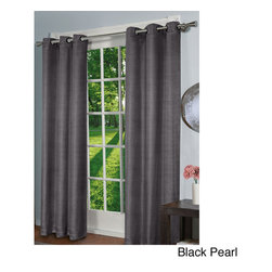 Design Decor - Design Decor Faux Silk Blackout 84-inch Curtain Panel Pair - Get the look of silk without the price tag with this window curtain panel pair that is made from 100 percent polyester with an energy-saving design. This 84-inch set of blackout panels will block out most light and is ideal for night-shift workers.