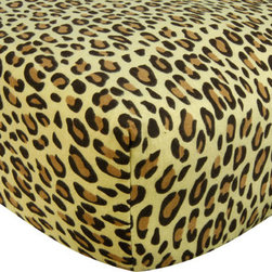 """Trend Lab - Crib Sheet - Leopard Print Tan Flannel - Your child's bed will be soft and cozy with this Leopard Print Tan Flannel Fitted Crib Sheet by Trend Lab. Sheet features a chocolate and caramel leopard print on a tan background. Sheet features 7"""" deep pockets and fits a standard 52"""" x 28"""" crib mattress. Elastic around entire opening and elastic sheet straps sewn in each corner ensures a more secure fit. Coordinates with the Animal Print collection by Trend Lab."""