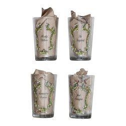 Park Hill Collection - Juice Glass w/ Crowns & Sayings, Set of 4 - This set of juice glasses decorated with various sayings and crowns bring the charm of a café to the breakfast table.