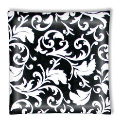 "Classic Design Damask Black and White Ceiling Light - 12"" square semi flushmount ceiling lamp with designer finish. Includes complete installation instructions and complete light fixture. Wipes clean with a damp cloth. Uses 2-60 watt bulbs (not included) and is made with eco-friendly/non-toxic products. This is not a licensed product, but is made with fully licensed products."