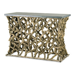 Currey & Co - Currey & Co 3115 Montauk Rustic Gray Console Table - The Currey & Co 3115 Montauk Rustic Gray Console Table has a very complex wooden vine design for the base and sides to help make this an eye-catching piece of furniture. The long gray slate surface of the table is ideal for holding anything from an assortment of books to the set up of a simple bar. The sturdy design helps ensure that this table continues to look fantastic without fading and diminishing in stability.
